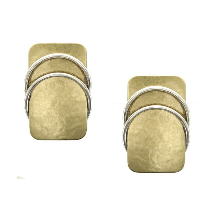 Rounded Rectangle in Brass with Sterling Silver Rings Earring – Marjorie Baer Accessories