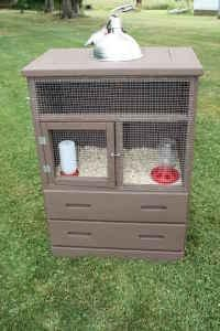 old dresser remade into an chick pen, bunny pen or guinea pig pen, just make sure if its a bunny or guinea pig to line the inside with fencing otherwise they will chew through it