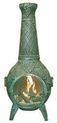 Blue Rooster - ALCH001GK-AG - Grape Leaf Cast Aluminum Chiminea w/Gas Kit - Antique Green - Large