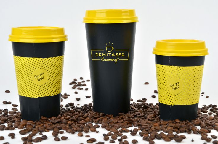 Demitasse Creamery is a fictional locally-owned coffee and ice cream shop created by student Brianne Boland. Demitasse Creamery features a mischief-inspired branding with punny sayings and iconography united with a very delightfully yellow, white and black color palette.