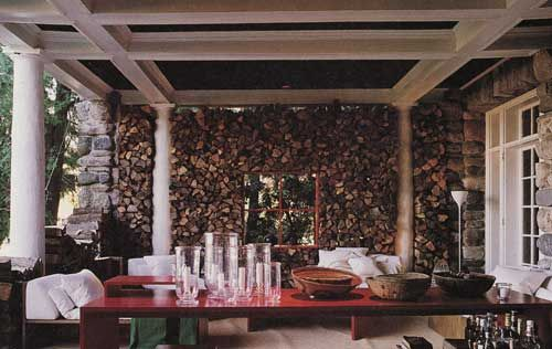 The whole back wall is a wood pile! This could be very cool for one of the backdrops.