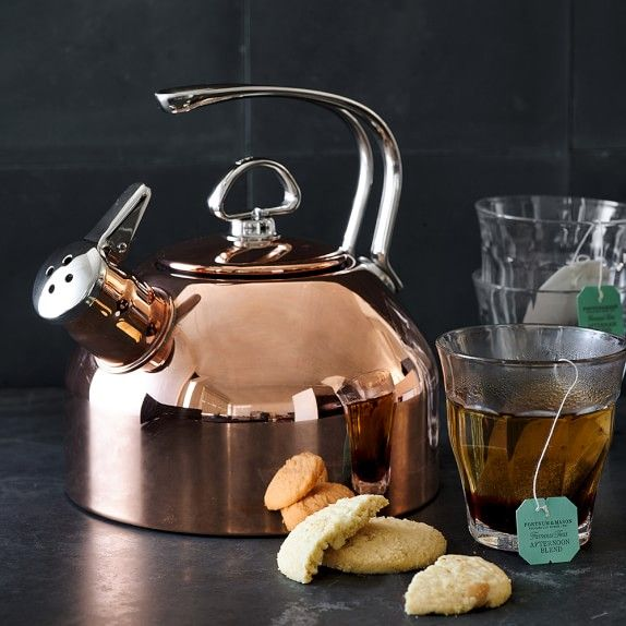 Copper tea kettle.