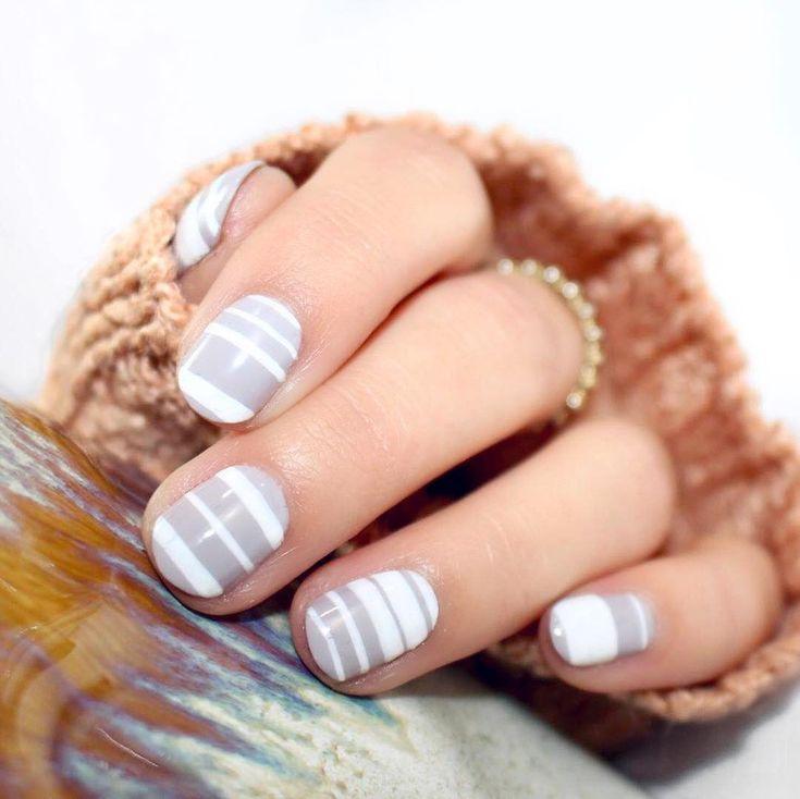 short nail art design 2017   simple   strip   white   grey   gel polish
