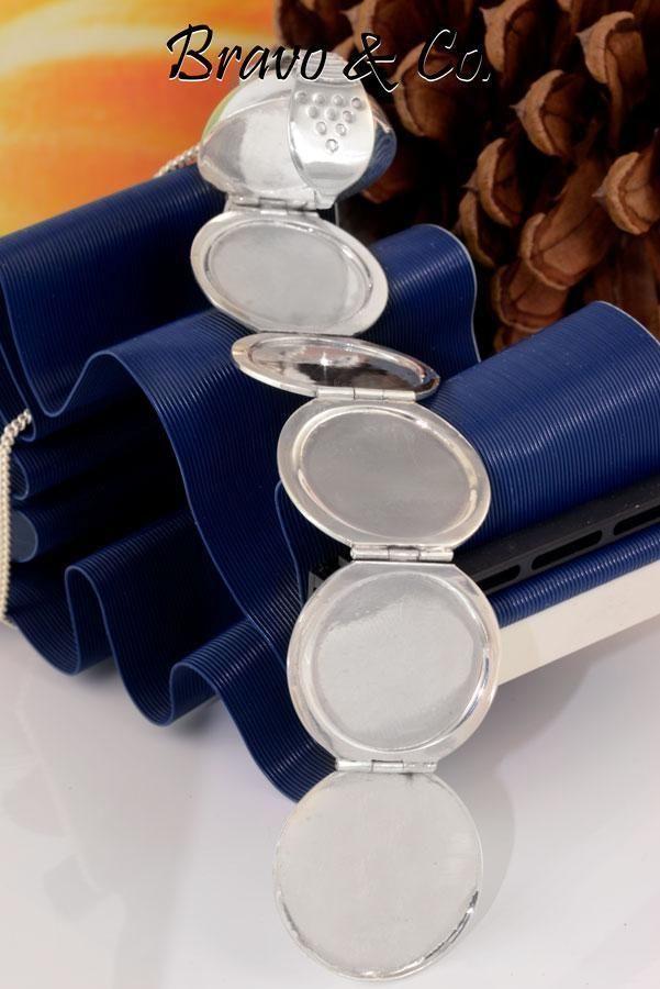 2LK-138 Hallmark 925 Solid Sterling Silver Ball Photos New Locket Necklace Chain
