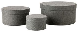 Kvarnvik Boxes, Gray, Set of 3 - contemporary - storage boxes - by IKEA