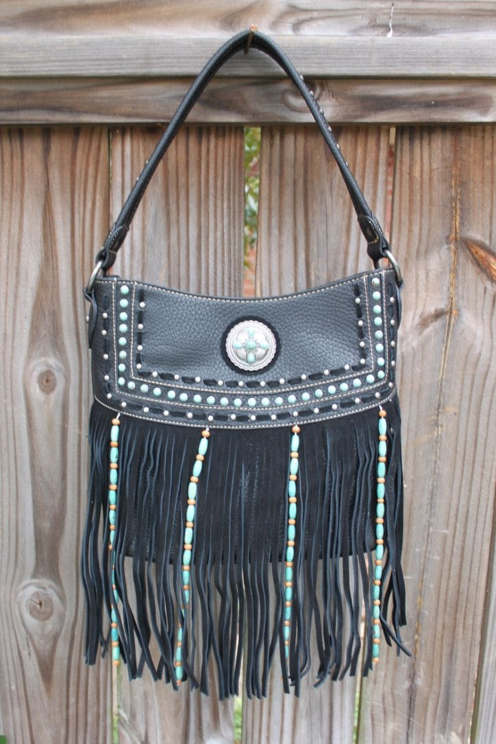 Concealed Carry Handbag with Turquoise Beading