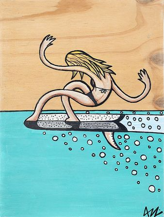 Surfs up! Get surf inspired artwork by the one and only Aaron Godina, one of our local artists.