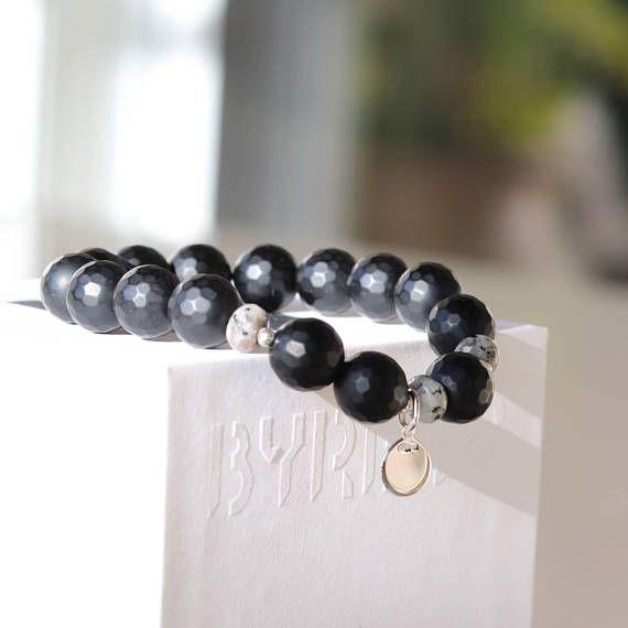Bracelet homme pierre Paname Onyx labradorite - Bracelet homme, bracelet onyx, bracelet argent, bracelet perle, bracelet noir, bracelet lithotherapie, perle onyx, bracelet Lithotherapy, bracelet pierre naturelle, bracelet natural stones