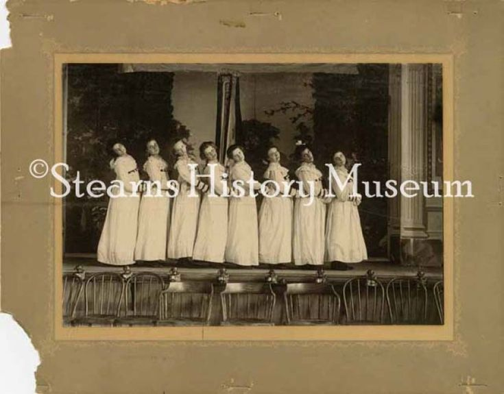 Women on stage, Maurin Opera House, Cold Spring, MN ca.1910 #singing #Minnesota #historicphoto