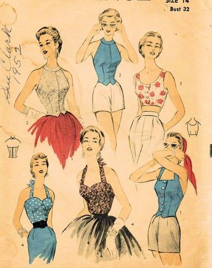 1950s summer fashion illustrations