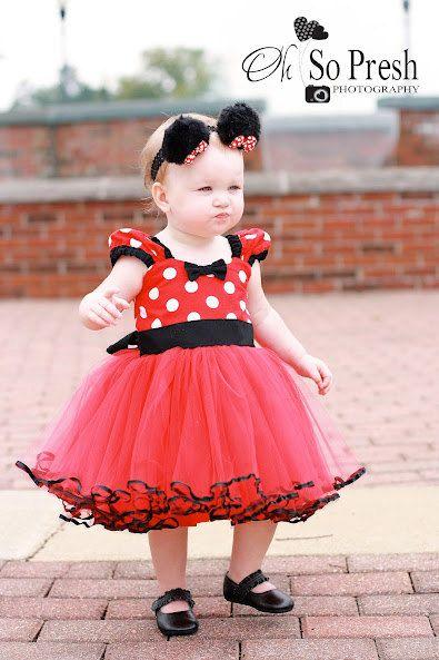 MINNIE MOUSE vestido tutú partido en rojo de lunares super twirly 1er cumpleaños fiesta bebé disfraz