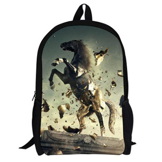 17-Inch 2016 Hot Children Animal Bag Horse Backpacks For School Boys Girls Printed Horse Backpack For Kids Students