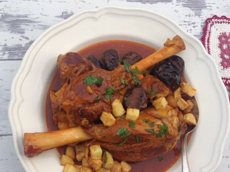 Persian Style Lamb Shanks in Tomato Sauce with Prunes & Fried Potatoes