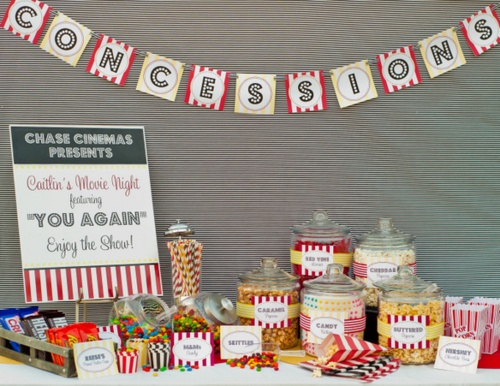 Movie party: candy table