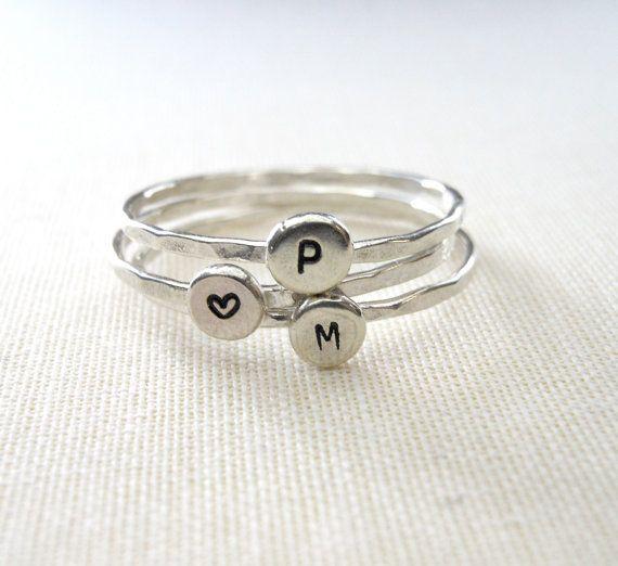 Mini-Initial-Ringe Siegelring Monogramm Ring von 39NorthJewelry