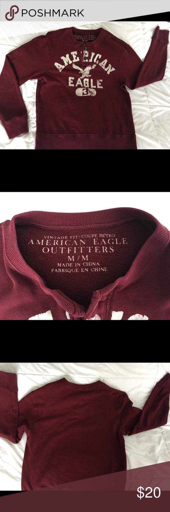 American Eagle Sweatshirt - Vintage Fit Great used condition burgundy sweatshirt. I'm willing to consider reasonable offers. Thank you for checking out my closet! American Eagle Outfitters Tops Sweatshirts & Hoodies