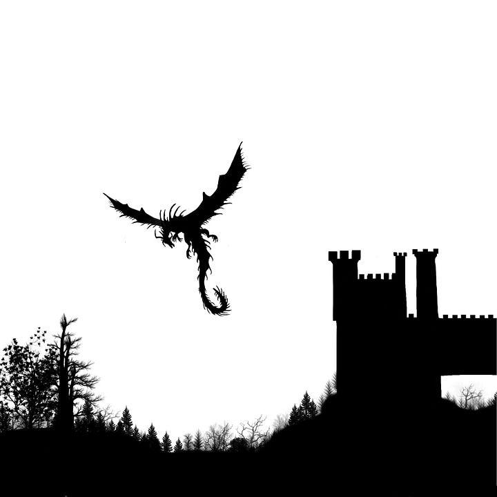 Silhueta, Paisagem, Castelo, Dragão, Fantasia