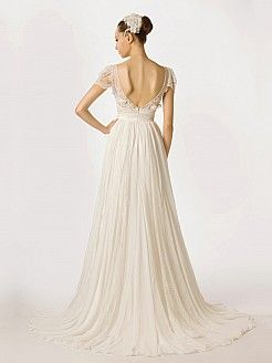 Cap Sleeved A Line Chiffon Bridal Dress with Sheer Lace Top'