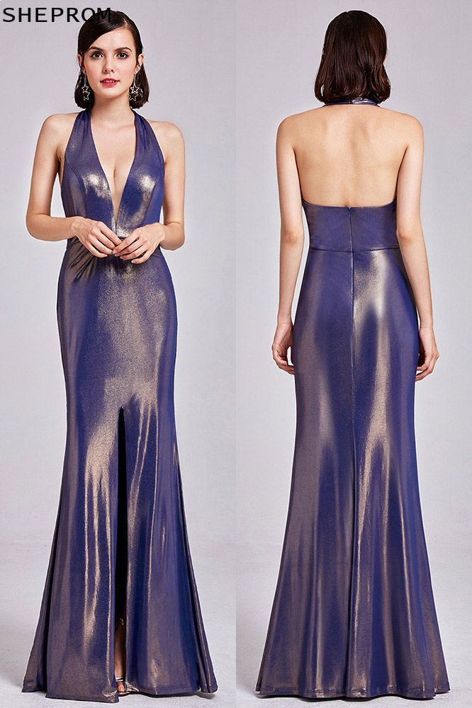 fed43b5a541 Shining Sexy Deep V Halter Purple Prom Dress Open Back -  64 ...