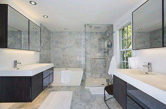 Meuble salle de bains bois, carrelage et déco en 105 idées! - salle de bain meuble noir