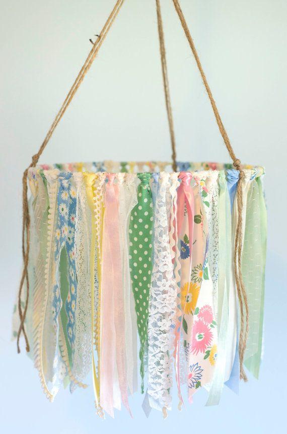 Baby Ribbon Mobile ribbon lace & fabric baby por TheGlitteredBarn