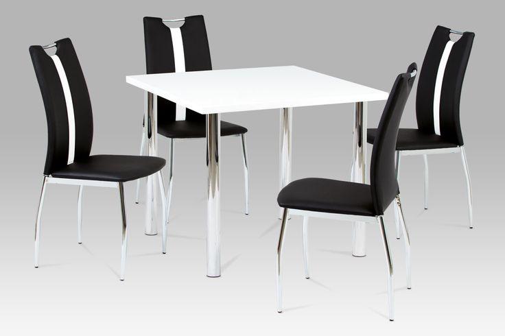 AC-1296 BK Atraktivní židle za nízkou cenu bude ozdobou každé jídelny či kuchyně. Provedení černá koženka s kontrastním bílým pruhem na opěráku v kombinaci s pochromovaným madlem a podnoží. Praktické madlo zajistí snadnou manipulaci. Nosnost židle je do 100 kg