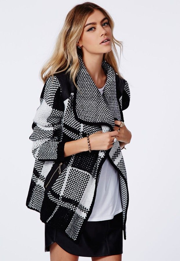 Asma Chunky Knit Check Cardigan Monochrome is on sale now for - 25 % !