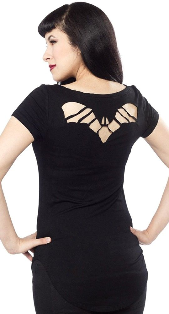 Sourpuss Black Bat Cutout Top Shirt Goth Punk Psychobilly Lolita Deathrock  Vamp 4928c549a9c27