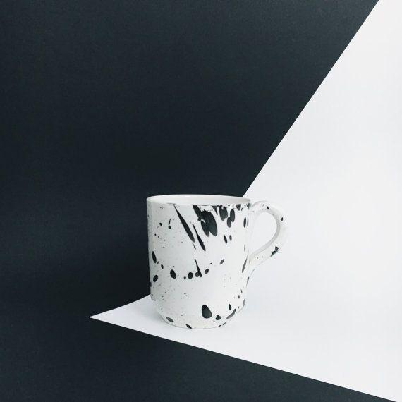 Splatterware coffee mug with handle black and by AmenamenStudio