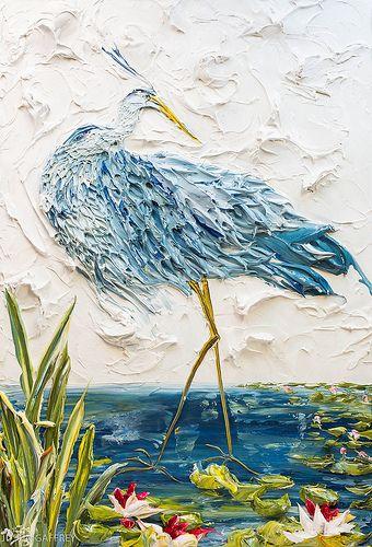 "34""x50"" - Acrylic on Panel - Blue Heron- Artist, Justin Gaffrey"