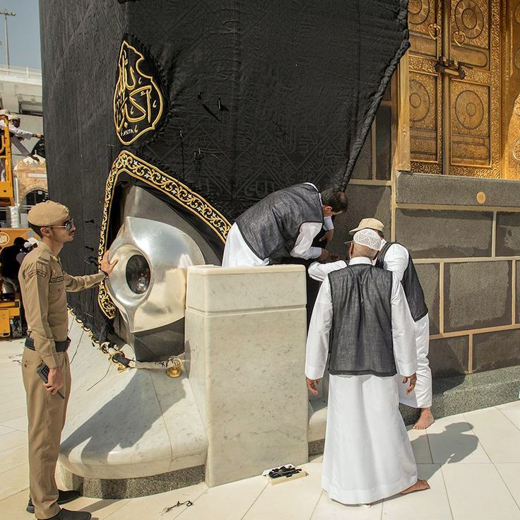 Maintenance of Kiswah in Masjid Al-Haram. #Makkah #Kiswah