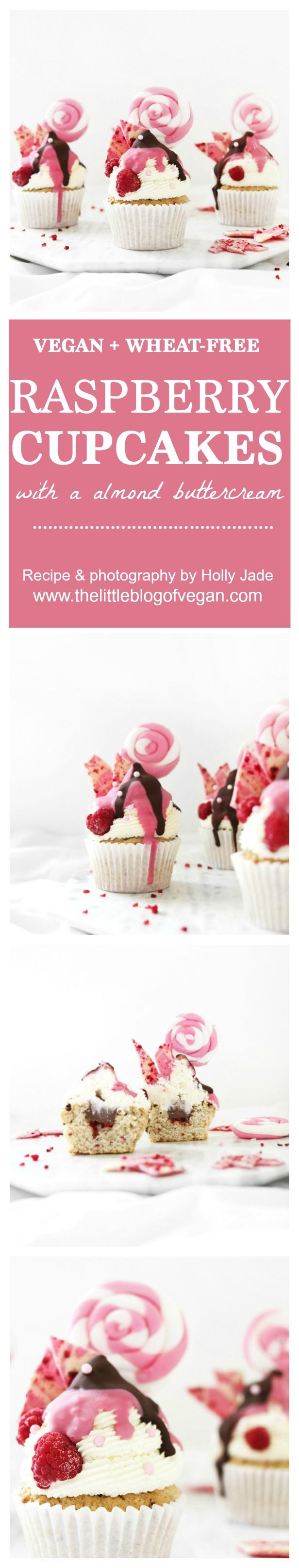 Delicious vegan moist & fluffy raspberry cupcakes with almond buttercream frosting, white chocolate drizzle dyed pink, dark chocolate drizzle, homemade pink raspberry chocolate bark & a homemade fondant lolly pop!