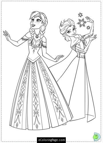 Princess Anna And Elsa From Frozen Colouring Page For