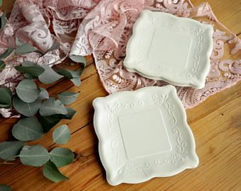 """Wedding Plates. 7"""" Square Plates. Set of 8. Ready in 3-5 Business Days. Scalloped Edge Paper Dessert Plates. Ivory Embossed Plates."""