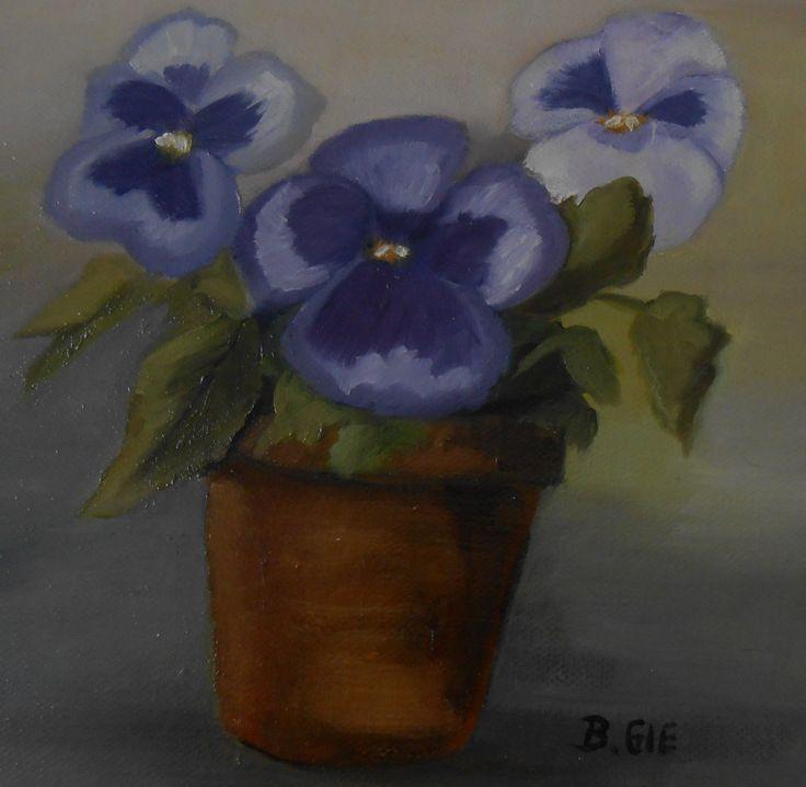 Pansies painted by Bernadette