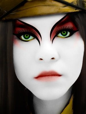 kyoshi warriors - Google Search. I. Love. This. MAKEUP!!!   I bet I could replicate it some how, some way...... XD #camiseta #cosplayer 2#camisetagratis #cosplay #friki #regalos #ofertas #ropaoferta