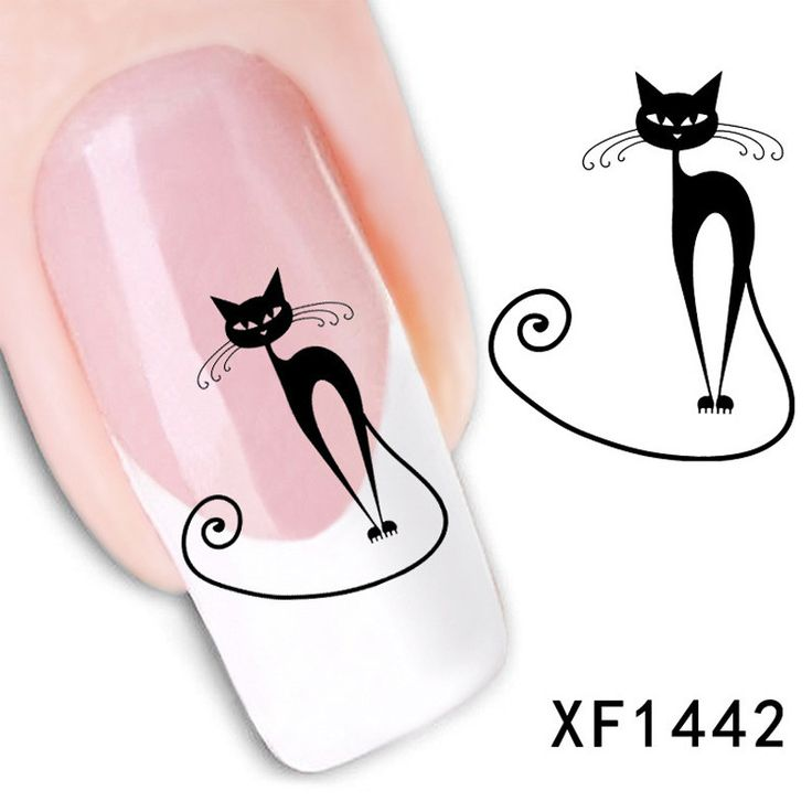 1pcs Black Cat Nail Sticker Water Stickers For Nails Decoracion Water Decal Cartoon Cat Nail Art Decorations Beauty Manicure