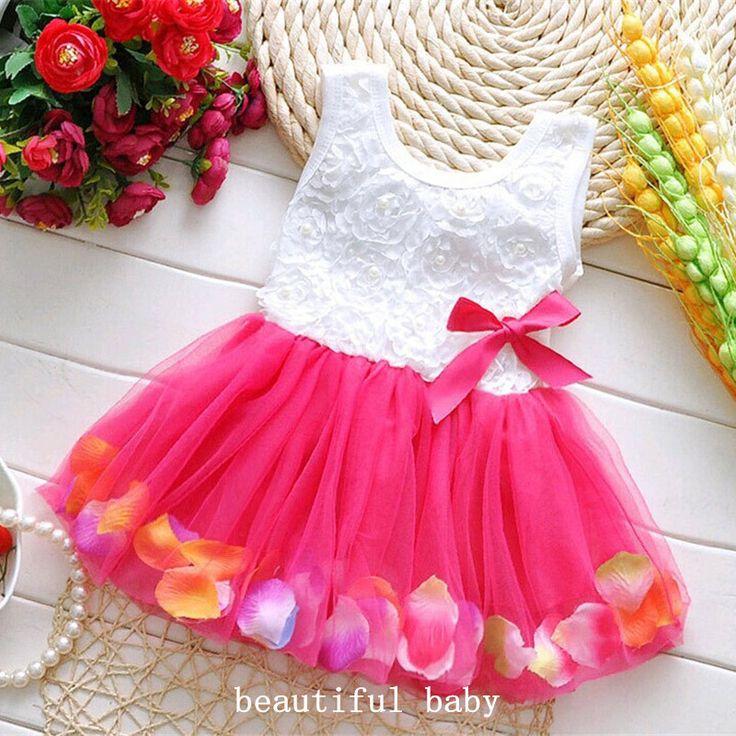 2017 zomer dress katoen kids kleding baby baby bloemblaadjes zoom tutu dress chiffon pasgeboren baby meisjes dress bloemen prinses jurken