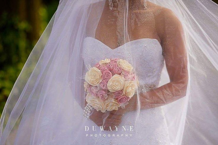 Our pink and cream bridal bouquet in action.