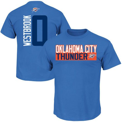 Mens Oklahoma City Thunder Russell Westbrook Blue Vertical Name & Number T-Shirt - NBA Store