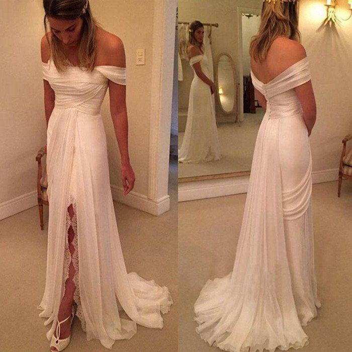 Off Shoulder Side Split Lace Simple Long Cheap Brides Wedding Dresses, BG51551 The dress is fully lined, 4 bones in the bodice, chest pad in the bust, lace up back or zipper back are all available. Th