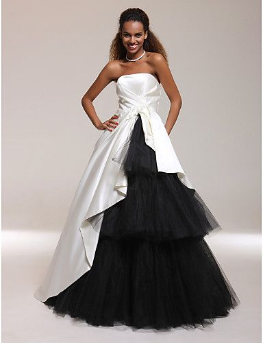 Satin Tulle A-line Strapless Floor-length Evening/ Prom Dress inspired by Isabella Ragonese - USD $ 199.99
