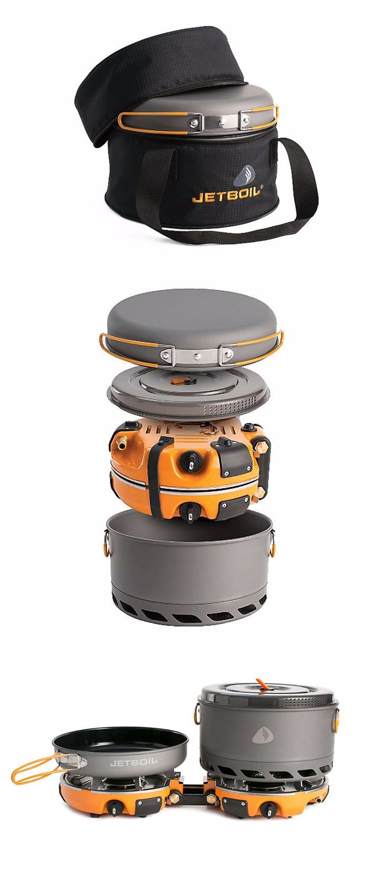 """The Jetboil Genesis Base Camp 2 Burner System is a group cook stove for meal time at base camp. Included with the dual burners is a 10"""" fry pan, a 5L FluxPot with lid, and a carrying case to keep them all together while traveling. This can quickly get 1 liter of water to boil, in 3 minutes, 15 seconds to be exact. Plus, if you need some additional water on the side, you can always purchase the Luna Satellite Burner separately and attach it to the Genesis. Genesis or genius? You figure it…"""