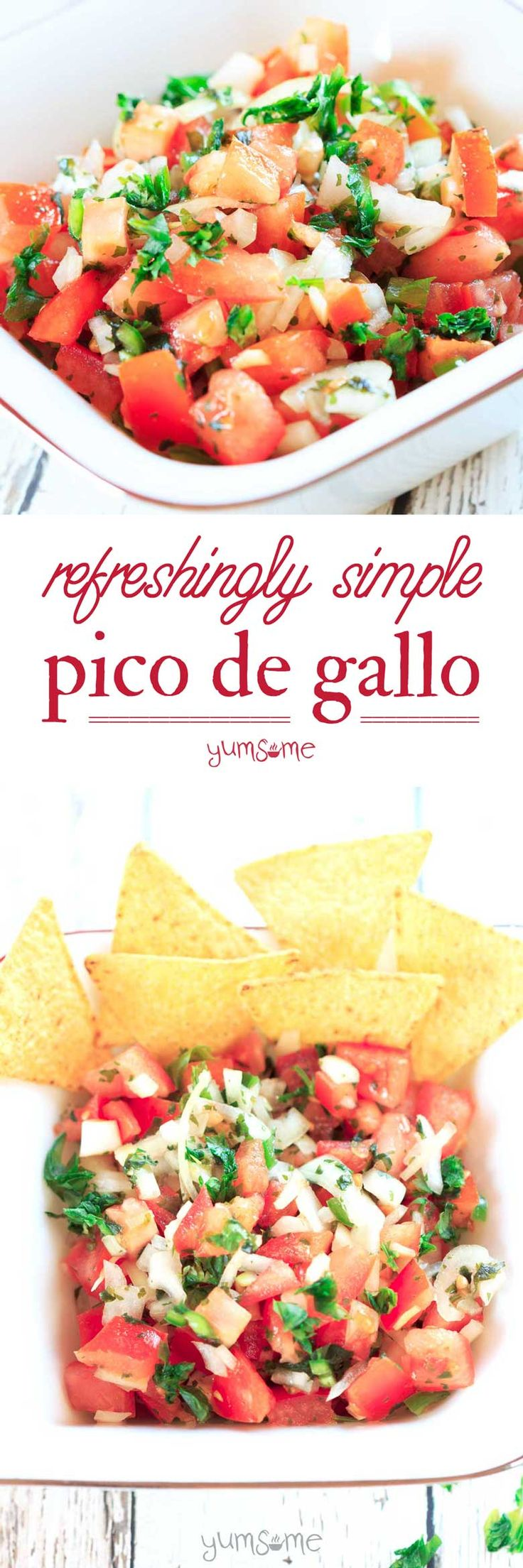 This refreshingly simple pico de gallo perfectly balances the sweetness of tomatoes and onions with the heat of chilli, and the sharpness of lime. | yumsome.com via @yums0me