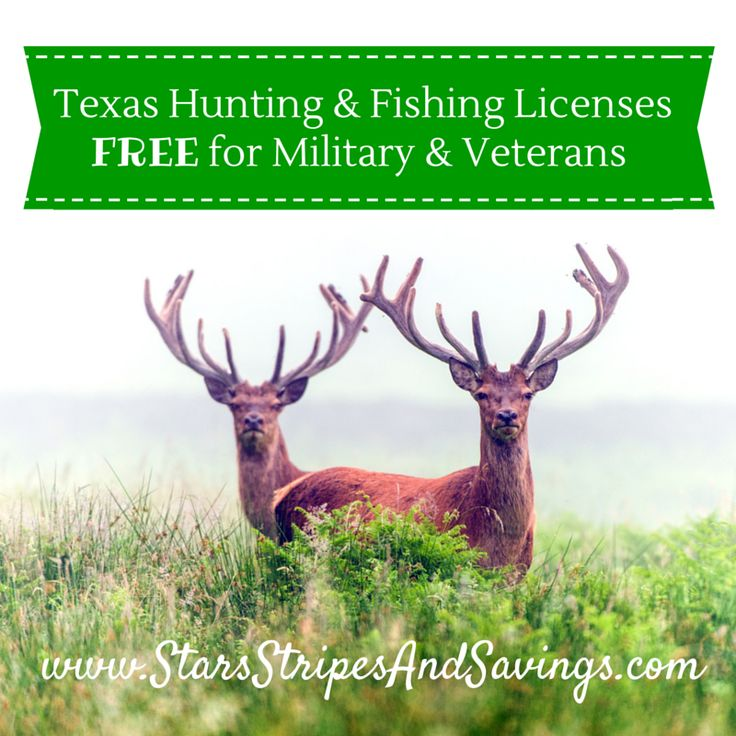 Find out how Active Military and Veterans get Texas hunting and fishing licenses FREE!!  What an awesome way to salute our soldiers!! www.StarsStripesAndSavings.com