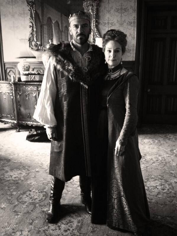 Alan Van Sprang (King Henry II) and Megan Follows (Queen Catherine) on the set of Reign!