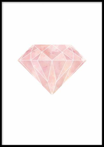 Geometrisk diamant tavla. Grafisk poster i rosa. Stilren inredning till vardagsrummet med rosa färgtoner.