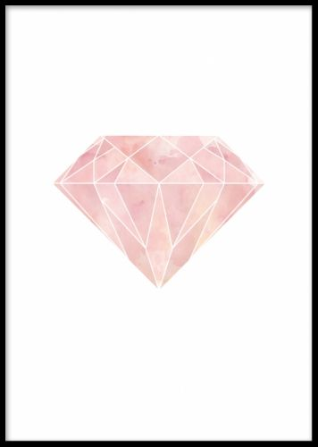 Geometrisk diamant - grafisk tavla. Grafisk poster med rosa geometrisk diamant på vit bakgrund. Snygg och modern affisch som passar till våra andra grafiska posters och prints i geometriska och trendiga stilar.