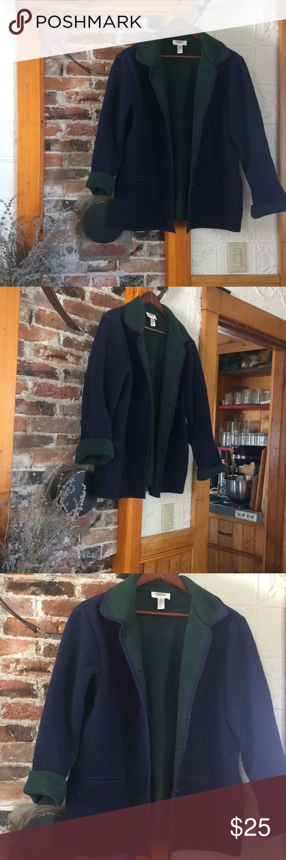 Talbots boiled wool coat Boiled wool/fleece jacket from Talbots (women's medium). Dark blue with dark green lining and metal buttons. Jackets & Coats
