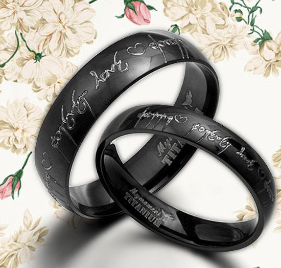 anysize anywords black lord of ring elvish engrave groombride wedding engagement titanium rings set flat court - Gothic Wedding Rings